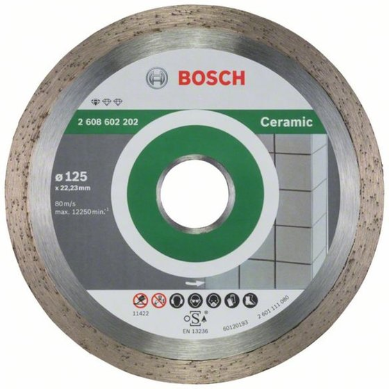 Bosch Diamanttrennscheibe Standard for Ceramic, 125 x 22,23 x 1,6 x 7 mm, 1er-Pack