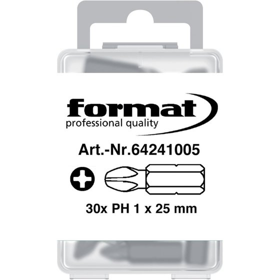 FORMAT Bit 1/4″ DIN 3126 C 6,3 PH1x25mm 30er Pack
