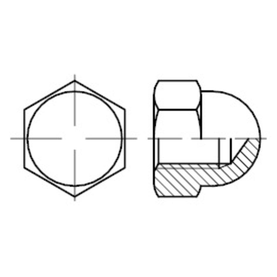 Edelstahl A4 blank Hutmuttern Hut Mutter Muttern hohe Form DIN 1587