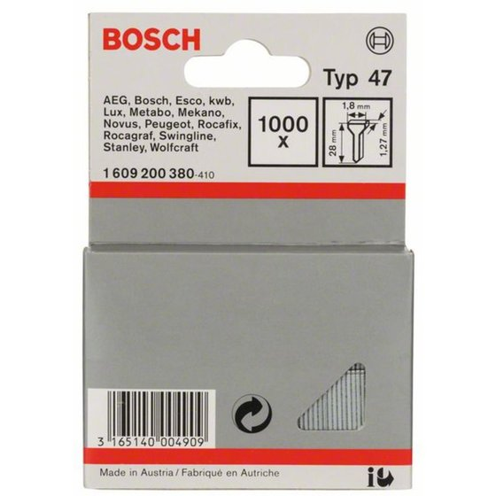 Bosch Tackernagel Typ 47, 1,8 x 1,27 x 28 mm, 1000er-Pack