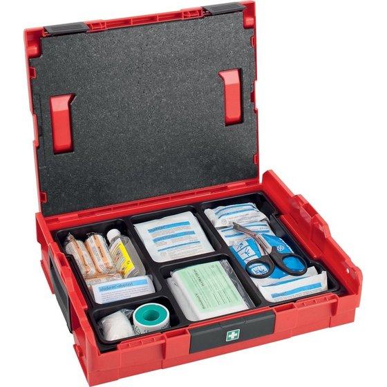rote Erste-Hilfe-LBOXX 102 mit Verbandsmaterial