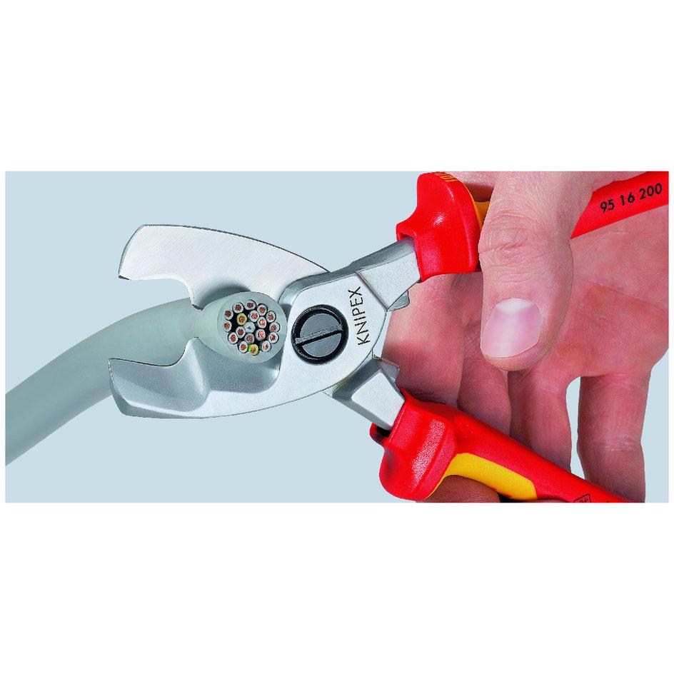 KNIPEX 95 16 200 Kabelschere mit Doppelschneide 200 mm verchromt isoliert