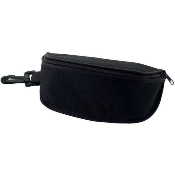 schwarzes Brillenetui mit Reißverschluss und Karabinerhaken