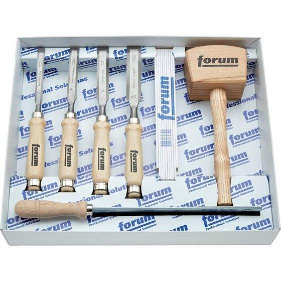 7-teiliger Werkzeug-Satz im Karton für Holzbearbeitung von forum®