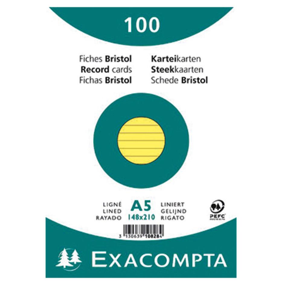 EXACOMPTA Karteikarte DIN A5 liniert blau 100 St.//Pack