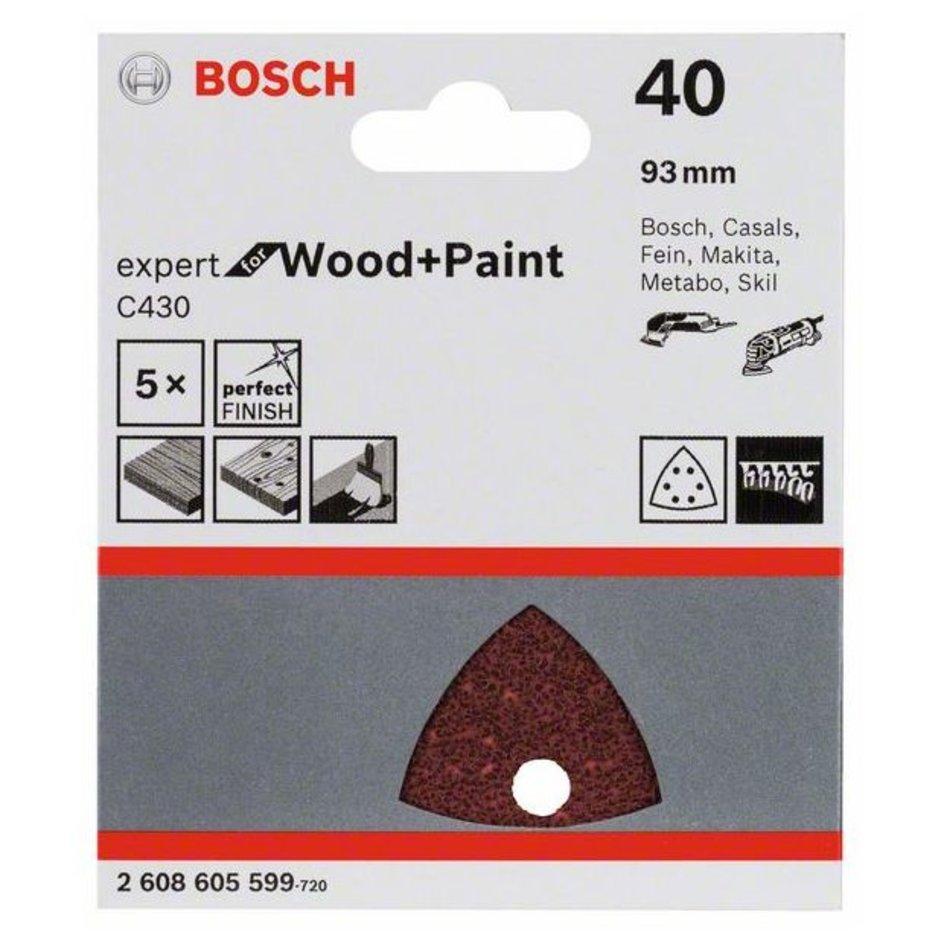 240 5er-Pack Bosch Schleifblatt Expert for Wood 6 Löcher 93 mm Klett