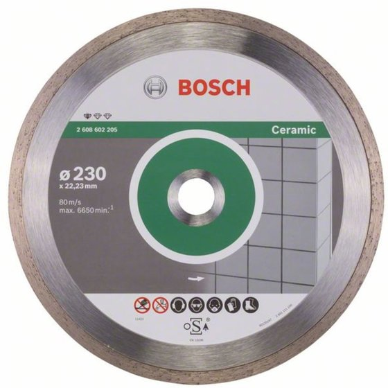 Bosch Diamanttrennscheibe Standard for Ceramic, 230 x 22,23 x 1,6 x 7 mm, 1er-Pack