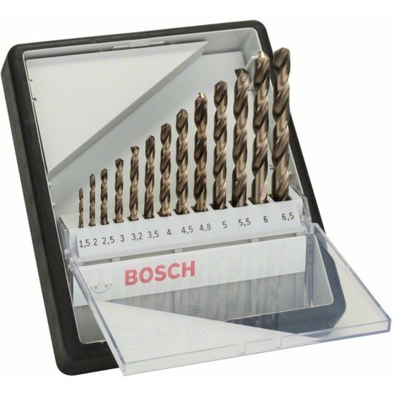 Bosch Metallbohrer-Set Robust Line HSS-Co, DIN 135, 135°, 13-teilig, 1,5 - 6,5