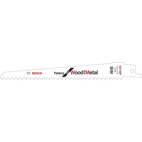 Bosch Säbelsägeblatt S 611 DF, Heavy for Wood and Metal, 5er-Pack