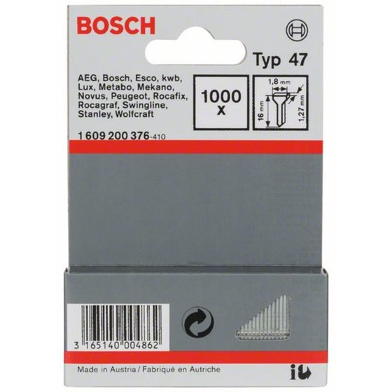 Bosch Tackernagel Typ 47, 1,8 x 1,27 x 16 mm, 1000er-Pack