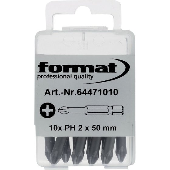 FORMAT - Bit 1/4″ DIN3126 E 6,3PH2x50mm 10er Pack