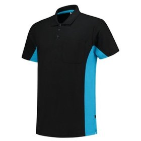 Tricorp - Poloshirt Bicolor Brusttasche 202002 Black-Turquoise Gr. XS