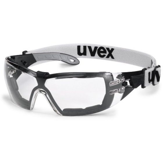Bügelschutzbrille mit klarem Sichtfeld und Kopfband von uvex