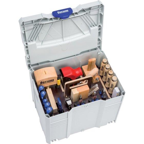 33-teiliger Werkzeug-Satz mit Holzwerkzeugen im Kunststoffkasten von forum®